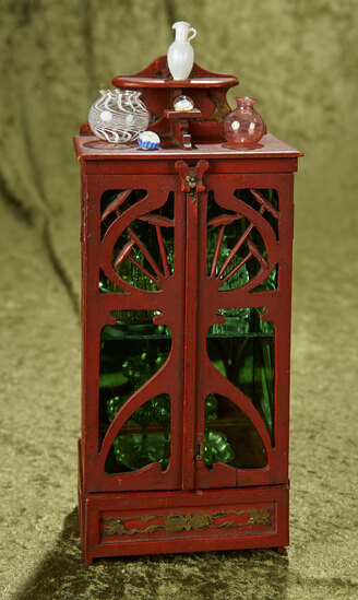 "12"" Handmade wood and glass vitrine filled with dollhouse glassware."