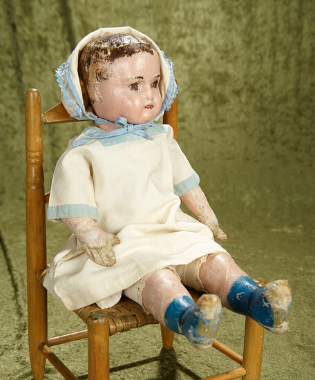 "18""  American oil painted Ella Smith Alabama Baby in sturdy condition, worn paint."