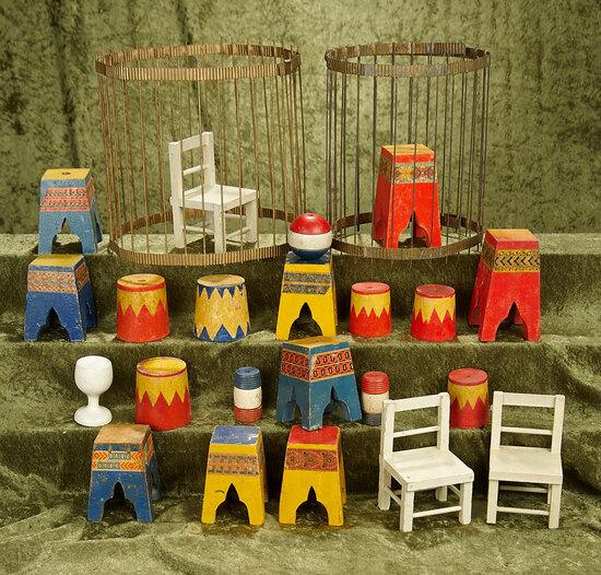 """2-9"""" Lot of assorted Schoenhut circus props."""