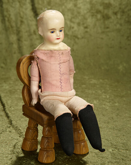 """15"""" Wax over paper mache girl with cobalt glass eyes on German pink cloth body with stamp."""