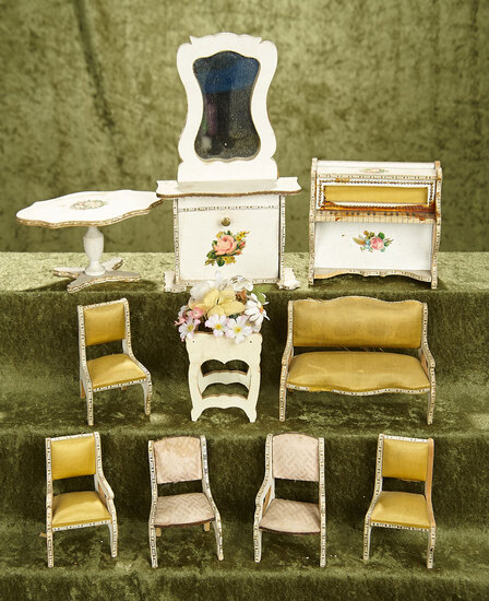 """3-8""""  Suite of matching French dollhouse parlor furniture by Louis Badeuille"""