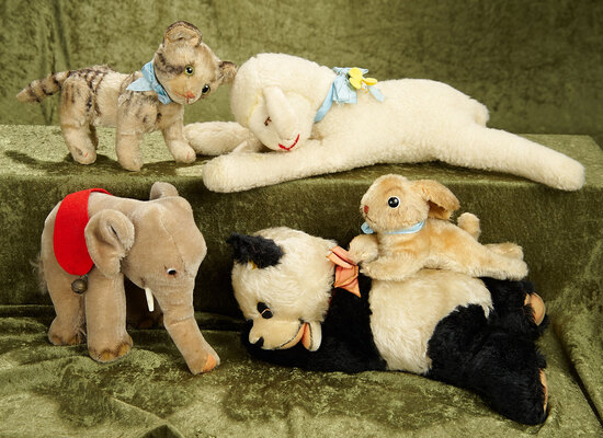 "8""-15""  Group of vintage Steiff mohair animals, rabbit, cat, elephant, Floppy Lamb and Panda."