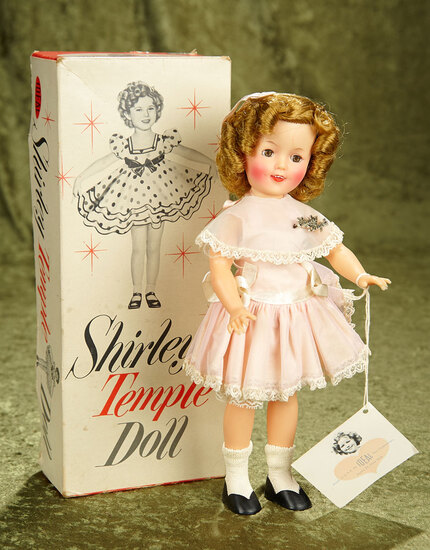 "12"" Vintage vinyl 1950's Shirley Temple with original outfit, wrist tag, pin and box."