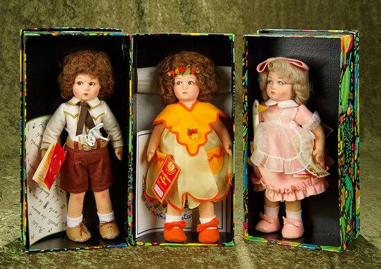 "14"" Three vintage Italian felt dolls by Lenci, Aurelia, Alice and Aldo in original boxes."