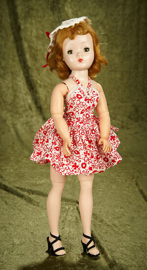 """20"""" Vintage hard plastic Cissy by Alexander in rare red and white sun dress."""