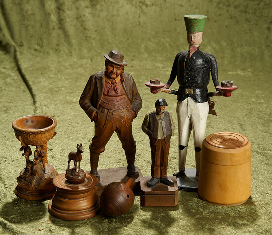"""3-11""""  Group of German carved wood figures, toys and a German miner candle holder."""