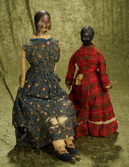 """16"""" & 22""""  Pair of primitive carved wood folk art ladies"""