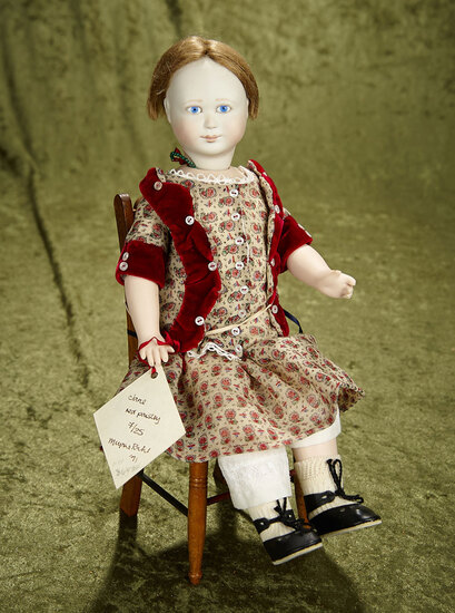 """13"""" Limited edition bisque artist doll """"Jane, Red Paisley"""" by Lynne & Michael Roche."""