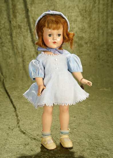 """17"""" Vintage composition Effanbee girl with working music box in original costume."""
