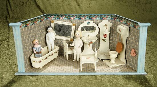"""19"""" German dollhouse bathroom with wonderful wooden furnishings and dolls."""