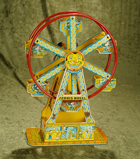 """16.5"""" Vintage key-wind tin litho Ferris Wheel by J Chein in great working condition."""
