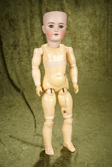 "22"" German bisque child by Handwerck, excellent bisque, on near mint body with working crier."