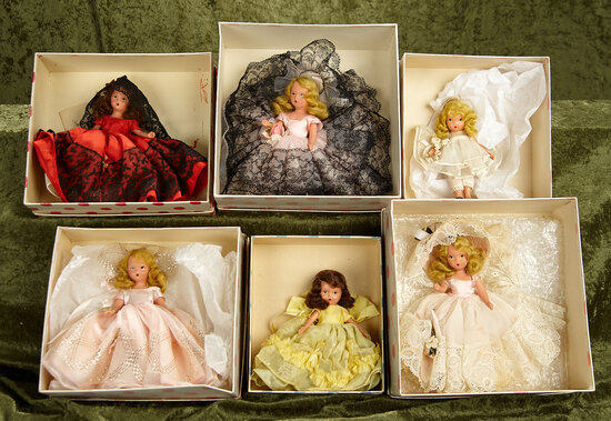 "6"" Group of six vintage Nancy Ann Storybook dolls in original boxes."