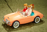Two blonde ponytail Barbies and Buffy in first Barbie Corvette, very good condition