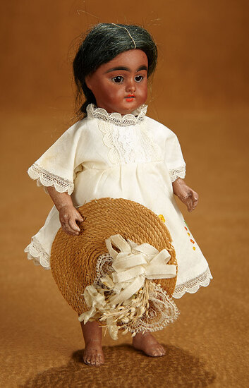 German Brown-Complexioned All-Bisque Miniature Doll by Simon and Halbig 600/800