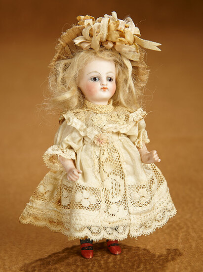 German All-Bisque Miniature Black-Stocking Doll in Lovely Antique Costume 600/800