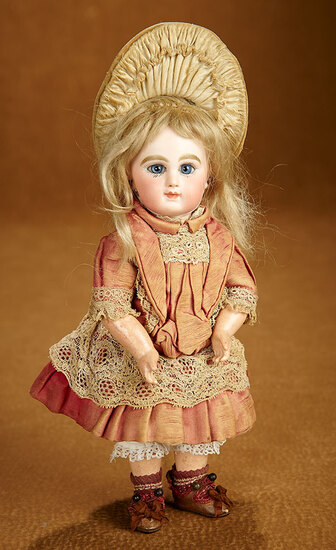 Petite French Bisque Bebe by Emile Jumeau, Size 1, with Signed Gilt Jumeau Shoes 3200/3800