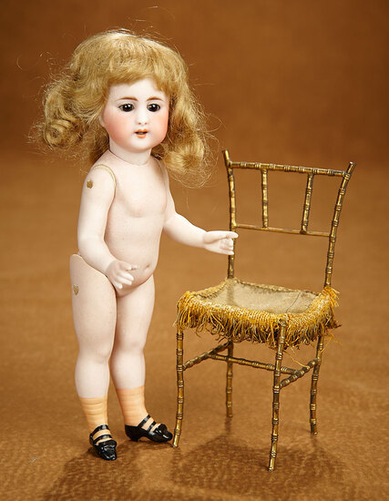 German All-Bisque Miniature Doll by Simon and Halbig with Rare Peach Socks 800/1100