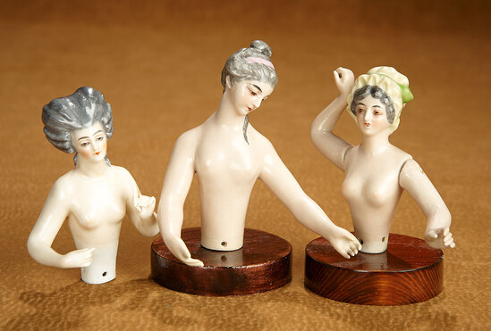 Three German Porcelain Half-Dolls in the 18th Century Style 500/700