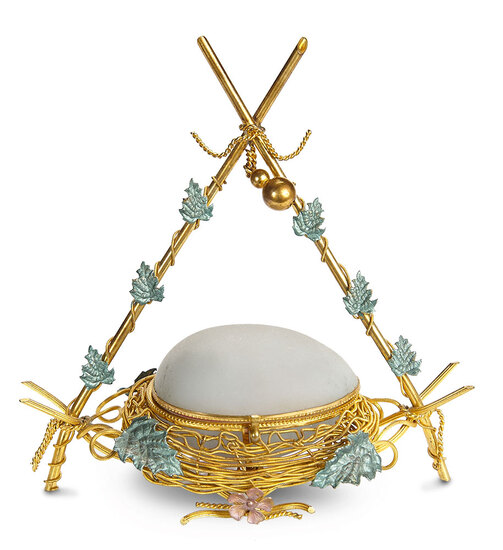 Rare French Needlework Necessaire in the Form of a Bird's Nest 1200/1400
