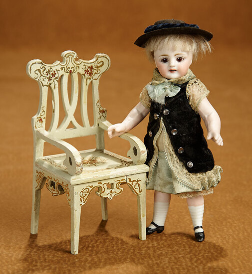 Rare German All-Bisque Miniature Doll in Antique Costume, with Chair 1100/1300