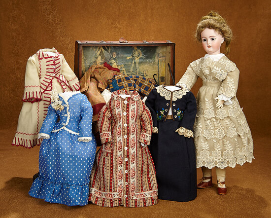 German Bisque Lady Doll, 1159, by Simon and Halbig with Trunk and Trousseau 1100/1500