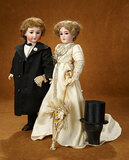 An Elegant and Fashionable German Bisque Lady and Gentleman in Original Evening Garb 3300/3800