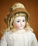 Very Beautiful French Bisque Poupee with Cobalt Blue Glass Eyes and Superb Costume 1800/2500