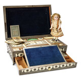 Early and Very Fine Bone and Mosaic Inlay Sewing Box  900/1400