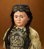 Rare German Bisque Art Character as Native American, Model 1303, by Simon and Halbig 3800/4500