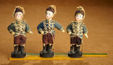 Trio of Little German Bisque Dolls in Parade Costumes 800/1000