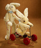 Two German Mohair Bunnies by Steiff including Record Bunny 1100/1300