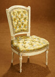 French Wooden Salon Chair with Gilt Accents and Tufted Silk Seat 500/700