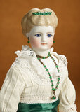 Rare German Bisque Lady Doll with Sculpted Brown Hair and Rare Green Hair Bow 900/1200