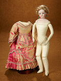 Petite French Bisque Poupee in Original Couturier Costume and Rare Signed Shoes 2200/2800