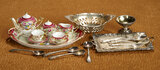 French Miniature Porcelain Tete-a-Tete Service and Silver Bowls and Cutlery 600/900