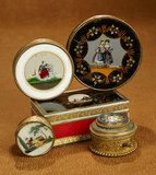 Collection, French Toilette Boxes with Hand-Painted Scenes, Mid-1800s 800/1000