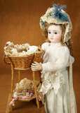 German Woven Sewing Basket with Notions and Bisque Doll 700/900