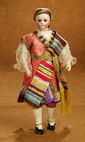 All-Original French Bisque Poupee with Exotic Complexion and Costume 2800/3500