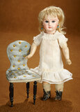 Petite French Bisque Bebe by Jules Steiner with Chair 1600/1900