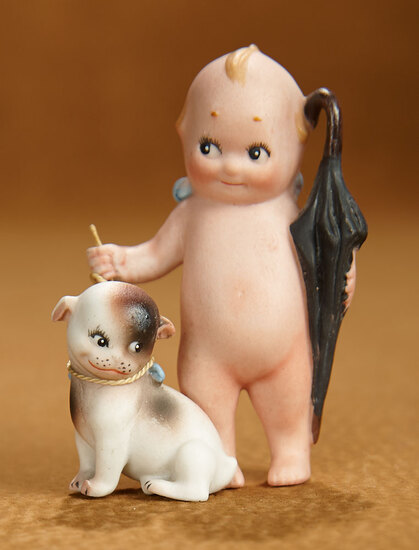 German All-Bisque Kewpie Traveler with Doodle Dog 400/500