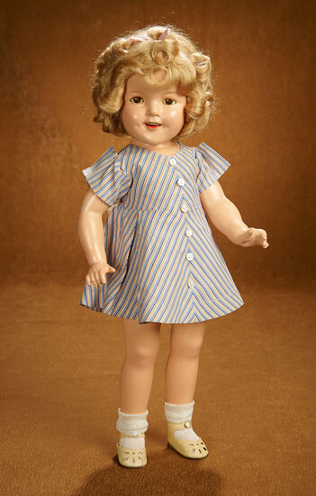 "American Composition Shirley Temple in Striped Dress from ""Curly Top"" by Ideal 600/800"