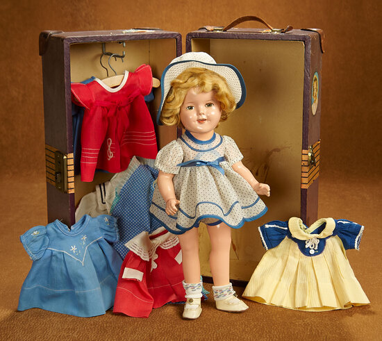 American Composition Shirley Temple by Ideal with Trunk and Costumes 400/500