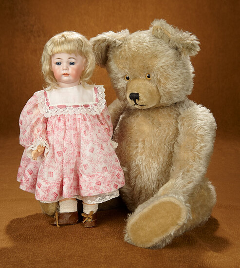 Large Early Mohair Teddy Bear with Reverse Painted Eyes 400/500