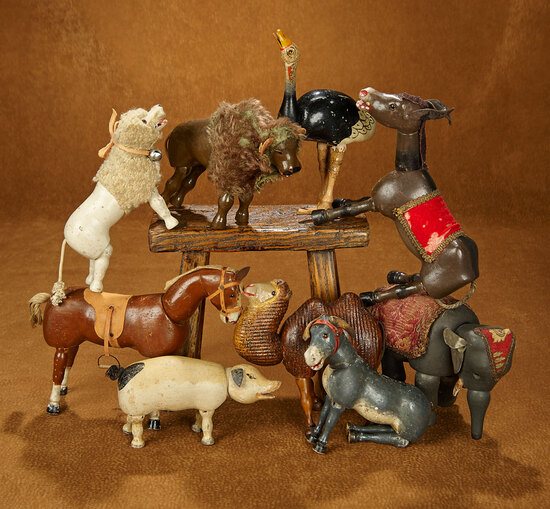Collection of Nine American Wooden Glass-Eyed Animals by Schoenhut 1100/1500