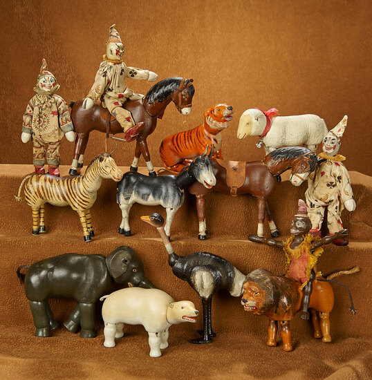 Collection of Fourteen American Wooden Painted Eye Animals and Clowns by Schoenhut 1600/2200