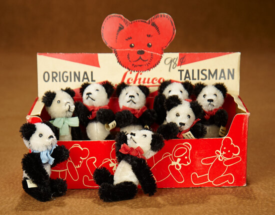 Eight German Miniature Talisman Panda Bears by Schuco in Presentation Box 400/500