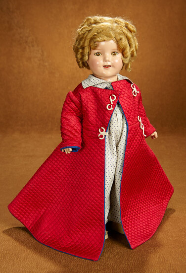 """American Composition Shirley Temple by Ideal in Rare """"Poor Little Rich Girl"""" Costume 600/800"""
