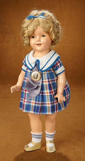 """American Composition Shirley Temple by Ideal in Costume of """"Bright Eyes"""" 400/500"""
