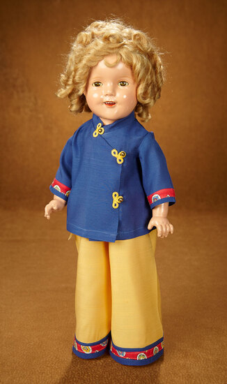 """American Composition Shirley Temple by Ideal in Rare """"Stowaway"""" Costume 600/800"""